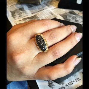Gold Black Pave Ring 🖤